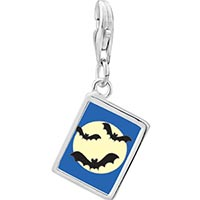 Link Charm Bracelet - 925  sterling silver bats and a full moon photo rectangle frame link charm Image.