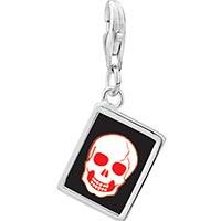 Link Charm Bracelet - 925  sterling silver halloween skull bone photo rectangle frame link charm Image.