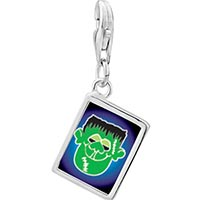 Link Charm Bracelet - 925  sterling silver green face frankenstein photo rectangle frame link charm Image.