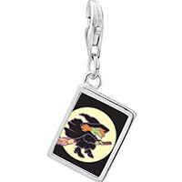 Link Charm Bracelet - 925  sterling silver flying witch photo rectangle frame link charm Image.