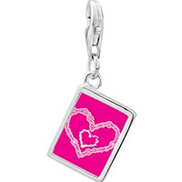 Link Charm Bracelet - 925  sterling silver layered two hearts photo rectangle frame link charm Image.