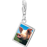 Link Charm Bracelet - 925  sterling silver piggy face photo rectangle frame link charm Image.