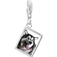 Link Charm Bracelet - 925  sterling silver husky dog photo rectangle frame link charm Image.