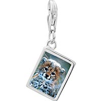 Link Charm Bracelet - 925  sterling silver baby cheetah cub photo rectangle frame link charm Image.