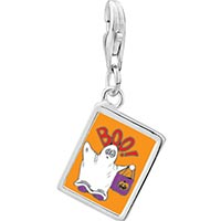 Link Charm Bracelet - 925  sterling silver boo ghost costume orange photo rectangle frame link charm Image.