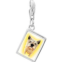 Link Charm Bracelet - 925  sterling silver norwich terrier photo rectangle frame link charm Image.