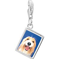 Link Charm Bracelet - 925  sterling silver bearded collie face photo rectangle frame link charm Image.