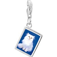 Link Charm Bracelet - 925  sterling silver white fluffy cat photo rectangle frame link charm Image.