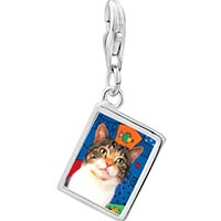 Link Charm Bracelet - 925  sterling silver white striped cat photo rectangle frame link charm Image.
