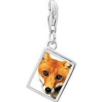 Link Charm Bracelet - 925  sterling silver red fox photo rectangle frame link charm Image.