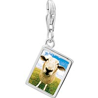 Link Charm Bracelet - 925  sterling silver sheep face photo rectangle frame link charm Image.