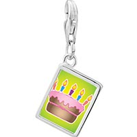 Link Charm Bracelet - 925  sterling silver cake with pink frosting photo rectangle frame link charm Image.