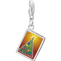 Link Charm Bracelet - 925  sterling silver bright christmas tree photo rectangle frame link charm Image.