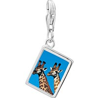 Link Charm Bracelet - 925  sterling silver two giraffes photo rectangle frame link charm Image.