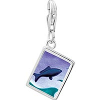 Link Charm Bracelet - 925  sterling silver jumping fish photo rectangle frame link charm Image.