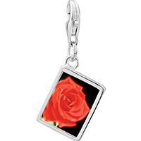Link Charm Bracelet - 925  sterling silver red rose photo rectangle frame link charm Image.