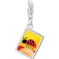 Link Charm Bracelet - 925  sterling silver ladybug photo rectangle frame link charm Image.
