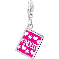 Link Charm Bracelet - 925  sterling silver princess photophoto rectangle frame link charm Image.