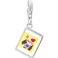 Link Charm Bracelet - 925  sterling silver i heart my dog photo rectangle frame link charm Image.