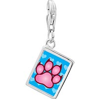 Link Charm Bracelet - 925  sterling silver pink paw print photo rectangle frame link charm Image.