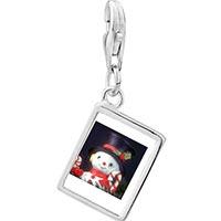 Link Charm Bracelet - 925  sterling silver snowman figurine photo rectangle frame link charm Image.