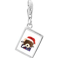 Link Charm Bracelet - 925  sterling silver teddy bear present photo rectangle frame link charm Image.