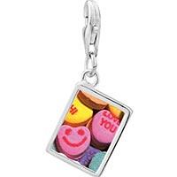 Link Charm Bracelet - 925  sterling silver valentine heart candy photo rectangle frame link charm Image.