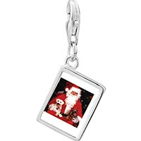 Link Charm Bracelet - 925  sterling silver dogs on santa' s lap photo rectangle frame link charm Image.