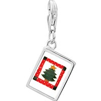 Link Charm Bracelet - 925  sterling silver christmas tree quilt square photo rectangle frame link charm Image.