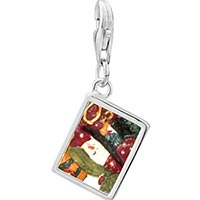 Link Charm Bracelet - 925  sterling silver snowman stamp photo rectangle frame link charm Image.