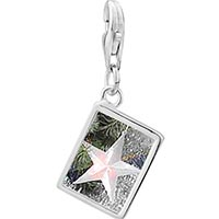 Link Charm Bracelet - 925  sterling silver glowing star ornament photo rectangle frame link charm Image.