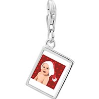 Link Charm Bracelet - 925  sterling silver baby santa photo rectangle frame link charm Image.