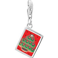 Link Charm Bracelet - 925  sterling silver gingerbread christmas treephoto rectangle frame link charm Image.