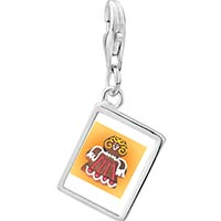 Link Charm Bracelet - 925  sterling silver gingerbread angel photo rectangle frame link charm Image.