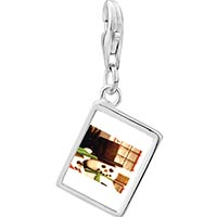 Link Charm Bracelet - 925  sterling silver snowman by window photo rectangle frame link charm Image.