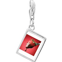 Link Charm Bracelet - 925  sterling silver chocolate dipped strawberry photo rectangle frame link charm Image.