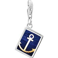 Link Charm Bracelet - 925  sterling silver anchor symbol photo rectangle frame link charm Image.