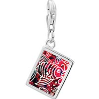 Link Charm Bracelet - 925  sterling silver fish on red photo rectangle frame link charm Image.