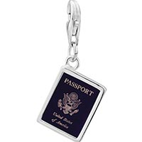 Link Charm Bracelet - 925  sterling silver usa passport photo rectangle frame link charm Image.