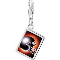 Link Charm Bracelet - 925  sterling silver football helmet black photo rectangle frame link charm Image.