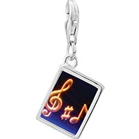 Link Charm Bracelet - 925  sterling silver music note g treble clef photo rectangle frame link charm Image.