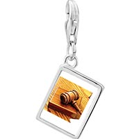 Link Charm Bracelet - 925  sterling silver judge' s tool gavel photo rectangle frame link charm Image.