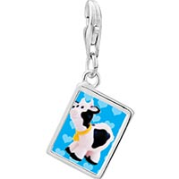 Link Charm Bracelet - 925  sterling silver toy cow photo rectangle frame link charm Image.