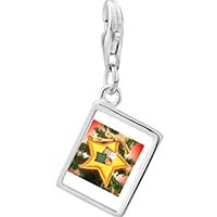 Link Charm Bracelet - 925  sterling silver quilted star ornament photo rectangle frame link charm Image.