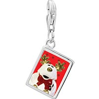 Link Charm Bracelet - 925  sterling silver christmas rudolph reindeer stuffed animal photo rectangle frame link charm Image.