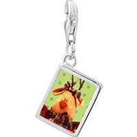 Link Charm Bracelet - 925  sterling silver christmas rudolph reindeer photo rectangle frame link charm Image.