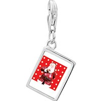 Link Charm Bracelet - 925  sterling silver quiet santa photo rectangle frame link charm Image.