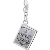 Link Charm Bracelet - 925  sterling silver love sand photo rectangle frame link charm Image.