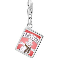Link Charm Bracelet - 925  sterling silver i believe snowman photo rectangle frame link charm Image.