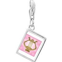 Link Charm Bracelet - 925  sterling silver golden lyre photo rectangle frame link charm Image.